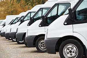 A fleet of trucks outfitted with field service GPS software.