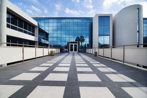 Commercial building using facilities maintenance software