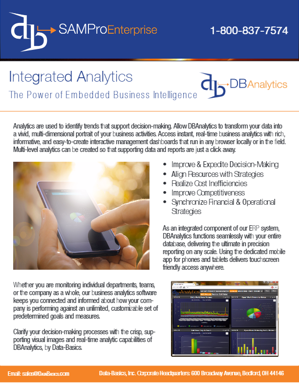 View the DBAnalytics Product Sheet PDF - SAMPro Enterprise