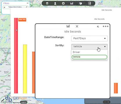 DBFleet fleet management software reports screen for service managers